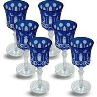 Conjunto De Taças Para Licor Lapidado 6 Peças Azul Escuro