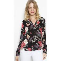 Blusa Floral Com Botãµes- Preta & Rosa- Vip Reservavip Reserva