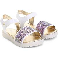 Sandália Infantil Pimpolho Glitter Feminina - Feminino-Branco