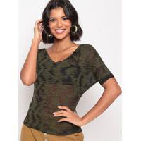 Blusa Devorê Com Rebites - Verde Escuro & Preta - Ththipton
