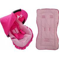 Conjunto Capa Para Bebê Conforto Com Acolchoado Extra E Capa De Carrinho Poá Alan Pierre Baby 0 A 13 Kg Rosa Com Marrom E Pink