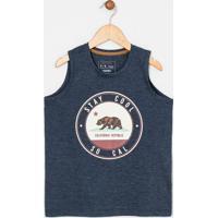 Regata Infantil Estampa Urso California - Tam 5 A 14 Anos