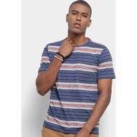 Camiseta Redley Estampa Listrada Masculina - Masculino-Azul