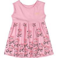 Vestido Infantil Bebê Ursinho Rosa