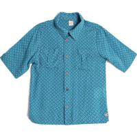 Camisa De Botã£O Geomã©Trica- Azul & Brancagreen