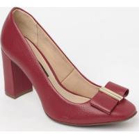 Sapato Tradicional Em Couro Com Tag- Vermelho- Saltojorge Bischoff