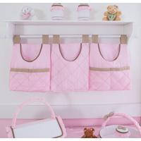 Porta Fraldas Urso Coroa Real 3 Peças - Maria Lua Baby - Branco / Rosa / Caqui