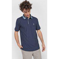Camisa Polo Aleatory Reta Lisa Azul-Marinho