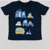 Camiseta Infantil Carro Moto Caminhão Manga Curta Azul Marinho