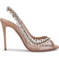 Aquazzura Temptation Crystal-Embellished Peep-Toe Sandals - Neutro
