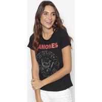 """Blusa """"Ramones""""- Preta & Vermelha- Cavallaricavalari"""