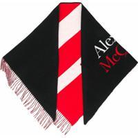 Alexander Mcqueen Echarpe Com Estampa De Logo E Listras - Preto