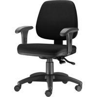 Cadeira Job Com Bracos Curvados Assento Crepe Base Rodizio Metalico Preto - 54580 - Sun House