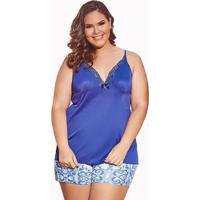 Pijama Short Doll Com Renda Plus Size Em Liganete