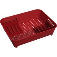 Escorredor De Louças Basic 45 X 35 X 10,5 Cm Vermelho Bold Coza