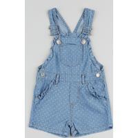 Jardineira Jeans Infantil Estampada De Poá Com Babado Azul Médio