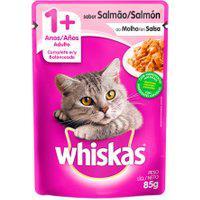 Ração Para Gatos Whiskas Adulto 1+ Anos Sachê Sabor Salmão Ao Molho 85G