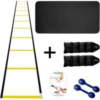 Kit Colchonete + Halter 1Kg +Caneleira 3Kg +Escada Agilidade - Unissex