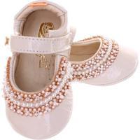 Sapato Boneca Mogly Verniz Marfim - Feminino-Bege
