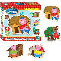 Quebra-Cabeça Nig Brinquedos - Progressivo - Os Três Porquinhos - Madeira - 30 Peças - Marrom