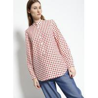 Blusa Quadrados Com Seda- Off White & Vermelha- Lacolacoste