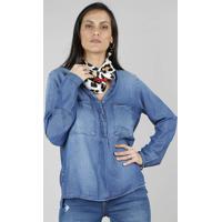 Camisa Jeans Feminina Com Botões Metálicos Manga Longa Azul Médio