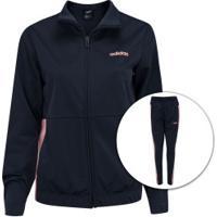Agasalho Adidas Wts Plain Tricot - Feminino - Azul Esc/Rosa Cla