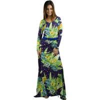 Vestido Banna Hanna Longo Roxo/Verde - Feminino