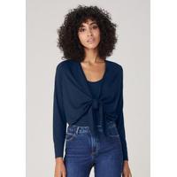 Blusa Em Malha Com Amarração - Azul