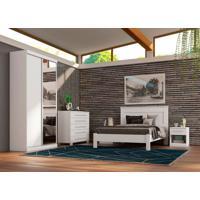 Dormitório Casal Luiza C/ Espelho Branco Madeirado Robel Móveis