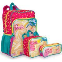 Kit Barbie 19M Plus 1 Infantil Sestini - Mochila + Lancheira + Estojo - Feminino-Rosa