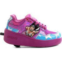 Tênis Elpis Skate Com Rodas Mulher Maravilha - Feminino-Rosa+Azul