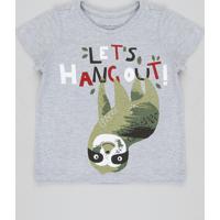 Camiseta Infantil Bicho Preguiça Manga Curta Gola Careca Cinza Mescla