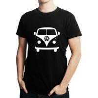 Camiseta Criativa Urbana Kombi Carro Clássico - Masculino-Preto