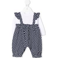 Il Gufo Layered Style Polka-Dot Print Babygrow - Azul