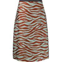 Odeeh High Waisted Tiger Stripe Skirt - Laranja