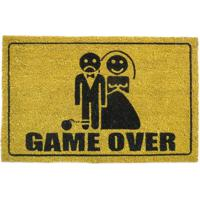 "Capacho ""Game Over""- Marrom Claro & Preto- 70X45Cm"