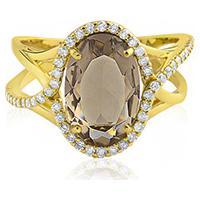 Anel Ouro Amarelo Quartzo Fum㪠E Diamantes