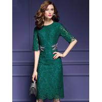 Vestido De Renda Elegante Manga Curta - Verde M
