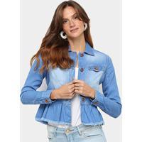 Jaqueta Jeans Biotipo Babados Feminina - Feminino-Azul