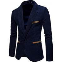 Blazer Masculino Elegante Estilo Camurça - Azul Escuro