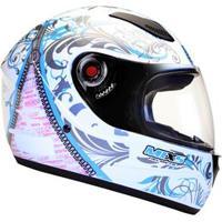 Capacete Mixs Helmets Fokker Racing Girls - Branco/Azul