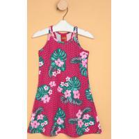 Vestido Floral Com Vazados- Rosa Escuro & Verdekyly
