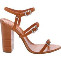 Sandália Salto Thin Stripes Ocre   Schutz