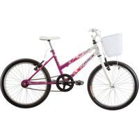 Bicicleta Aro 20 Cindy Com Cesta Sem Marcha Magenta E Branco Track & Bikes