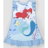 Camisola Infantil Pequena Sereia Ariel Com Babados Sem Manga Azul