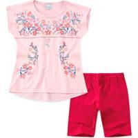 Conjunto Infantil Flores Rosa - Malwee