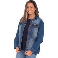 Jaqueta Jeans Dark Aee Surf Feminina - Feminino-Azul