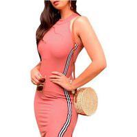Vestido Feminino Midi Justo Acinturado Canelado Nstore Rosa