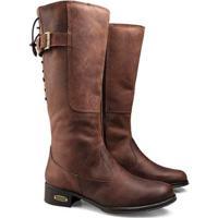 Bota Capelli Boots Couro Com Cordão Para Ajuste Feminina - Feminino-Café